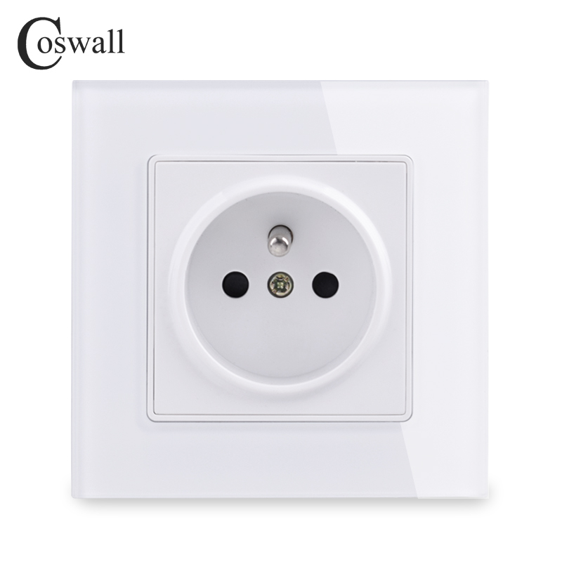 Coswall Wall Crystal Glass Panel Power Socket Plug Grounded 16A French Standard Electrical Outlet 86mm * 86mm
