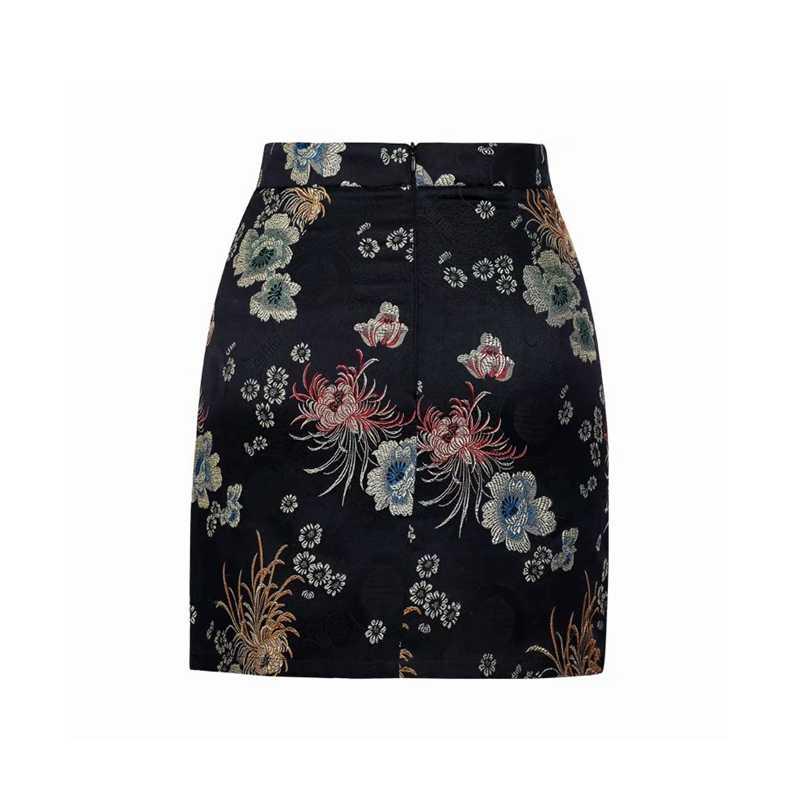 f45df4a7b8 ... Summer short high waist skirts womens pencil black red floral  embroidery skirt sexy korean fashion streetwear ...