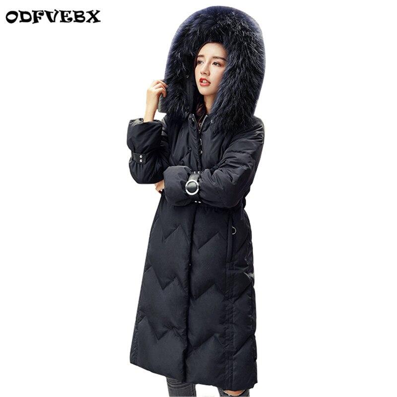 Le Grand Femmes Vers Mode Fourrure D'hiver Femme Nouveau Blanc white Black Parkas Canard Moyen Long Manteau Col Outwear De Bas Épais Chaud Veste q7wFgI4x
