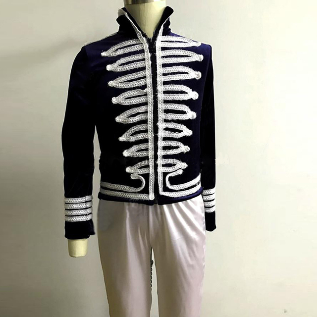 Custom Made Professional Military Uniform Ballet Top Jacket and Trousers For Men,Classical Ballet Costumes Outfit For Boy Female