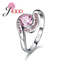 JEXXI CZ Crystal Engagement Wedding Women Rings Fashion Jewelry 925 Sterling Silver Lady Ring