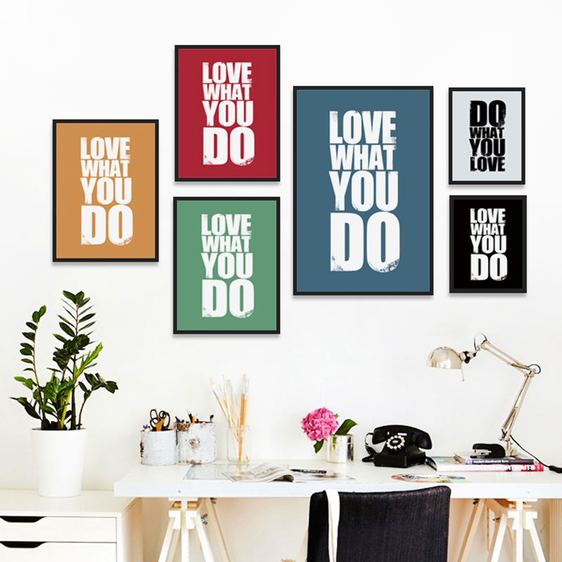 Bianche Wall English Inspirational Phrase What You Like Canvas Painting a Variety of Colors Art Posters Print Bedroom Decoration