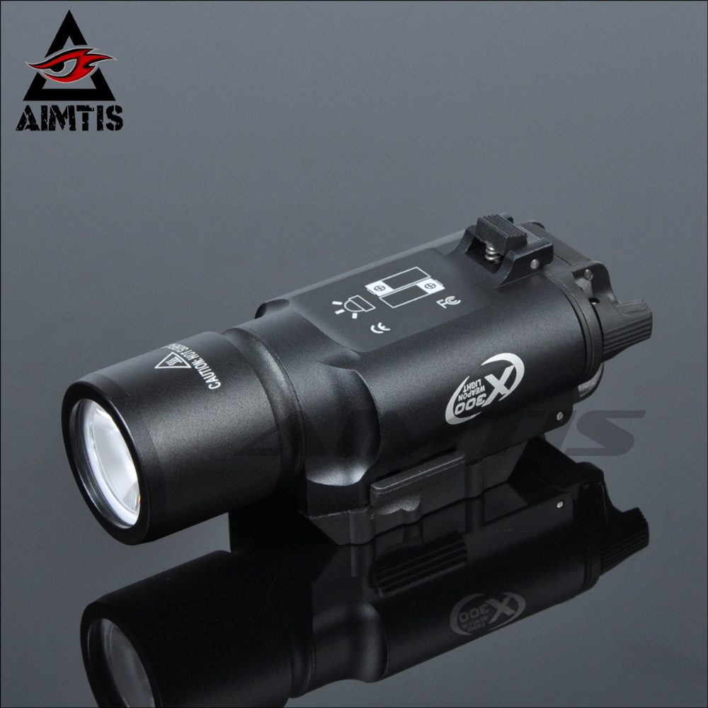AIMTIS X300 LED Weapon Light Tactical Flashlight Torch Picatinny Military Rail for Tactical Hunting Airsoft Rifle Gun Pistol element airsoft hunting military led weapon light flashlight pocket for rifle m952v gun tactical black 180 lumens ex 192