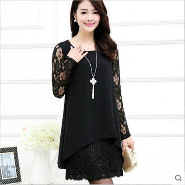2016 novas mulheres primavera vestido de chiffon vestido feminino Estilo Coreano rendas costura escavar as mulheres se vestem plus size 11B 25