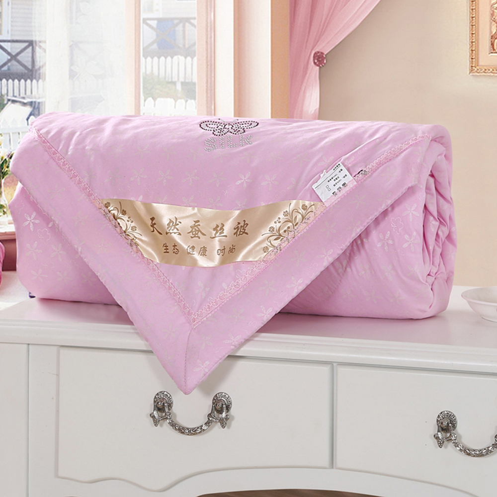ᗐTextiles para el hogar Juego de cama de edredón de seda natural
