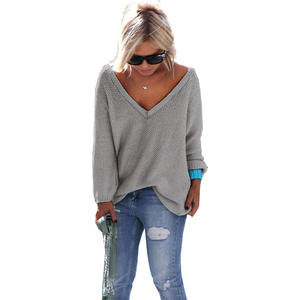 Pullovers Womens Sweaters Long-Sleeve Winter Fashion V-Neck Vestidos Fall Hot Solid OYM0069