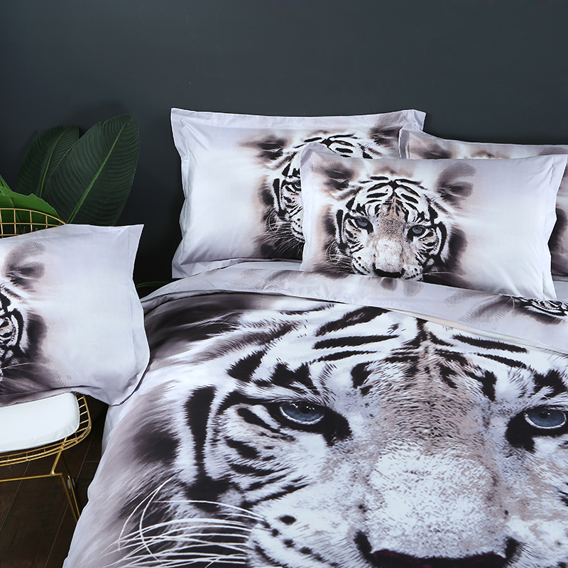 Image 2 - 3D Bedding Set Tiger Animal Duvet Cover queen size bed linen 3pcs Home Textiles-in Bedding Sets from Home & Garden