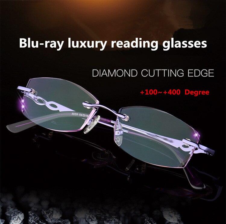 Luxurious Fashion Women Rhinestone Rimless Reading Glasses High Clear Woman Purple Readers Presbyopic Eye Glasses +1 +1.5~+4.0