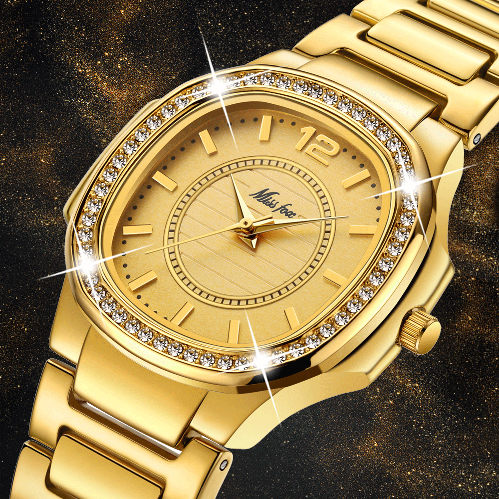 MISSFOX Best-Seller Watches Dropshipping New 2018 Hot Selling Cost Glitter Watch Bling Hodinky Golden Woman Arabic Number Watch