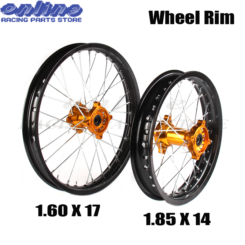 Front 1.60-17 inch Rear 1.85-14 inch aluminium Alloy Wheel Rim For 160cc 150CC Dirt Pit bike 14 17 inch wheel front 1 60 17 rear 1 85 14 inch alloy wheel rim with cnc hub for kayo hr 160cc ty150cc dirt pit bike 14 17 inch motorcycle wheel