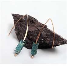 Hot Sale Natural Stone Simple Earings Zinc Alloy Geometric Arrow Earings Fashion Jewelry Bohemian Earrings for Women(China)