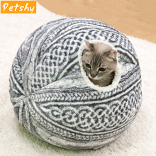 Petshy Spherical Cat Dog House Nest Foldable Soft Warm Winter Puppy Kitten Small Dogs Cave Sleeping Mat Kennel Pet Playhous