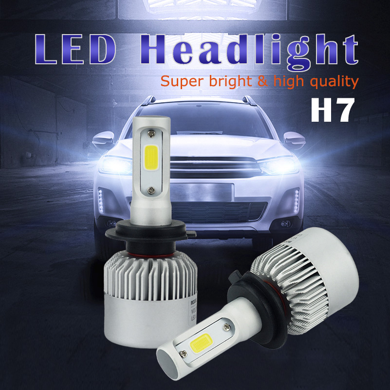 2pcs h7 cob car led headlight 80w 16000lm canbus high low. Black Bedroom Furniture Sets. Home Design Ideas