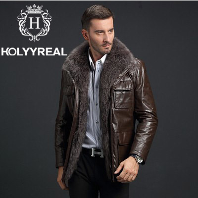 collars men fur leather jackets Sexy