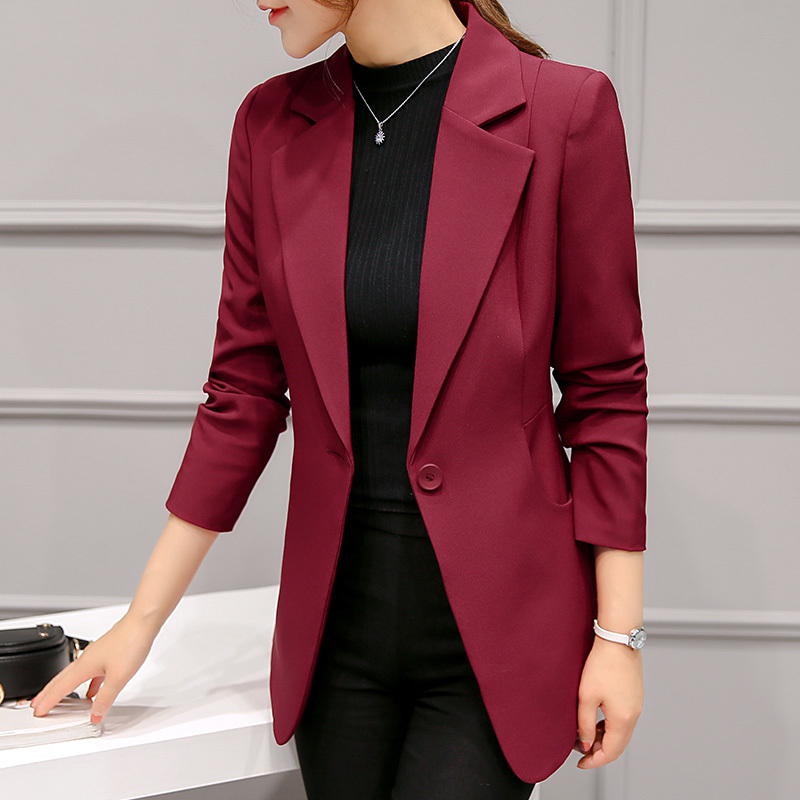 peonfly ladies blazer 2017 long sleeve blaser women suit jacket female feminine blazer femme red. Black Bedroom Furniture Sets. Home Design Ideas