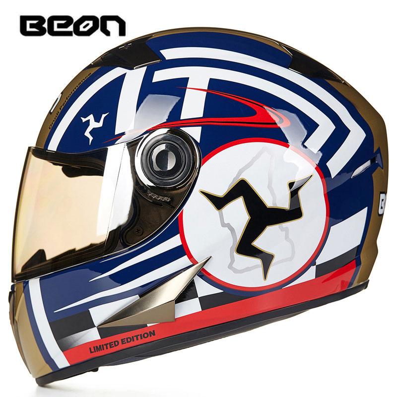 BEON Motorcycle Helmet Full Face Helmet Casco Moto Capacete Motocross Casque Moto Vintage Racing Riding 500 atv 4 top gear starwars simpson stickers model motorcycle helmet racing moto casco capacete