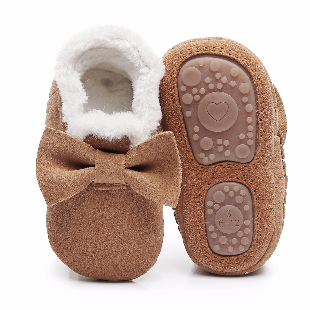 Winter New Style With Fur Shoes Genuine Leather Baby Girls Boot Handmade Toddler Hard Sole First Walkers Boot Baby Suede Shoes