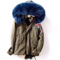 JZAYV Color Contrast Real Fox Fur Lined Thickening Warm Winter Coats Women Natural Raccoon Fur Collar Hooded Parkas Woman Wear