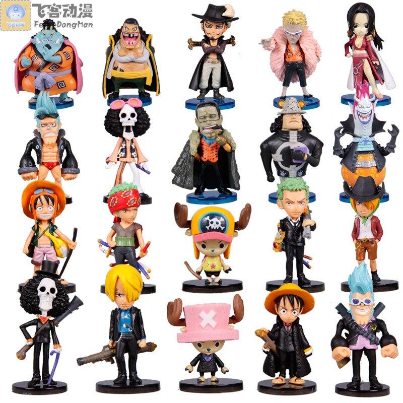 Anime Animation One Piece Luffy Q Version PVC Figures Collection Model Toys 20pcs/set anime 7pcs set saint seiya egg box q version the gold zodiac pvc action figures toys model collectibles brinquedos