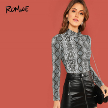 ROMWE Mock-Neck Snake Skin Print Fitted Tee Long Sleeve Slim Spring Stand Collar T Shirt
