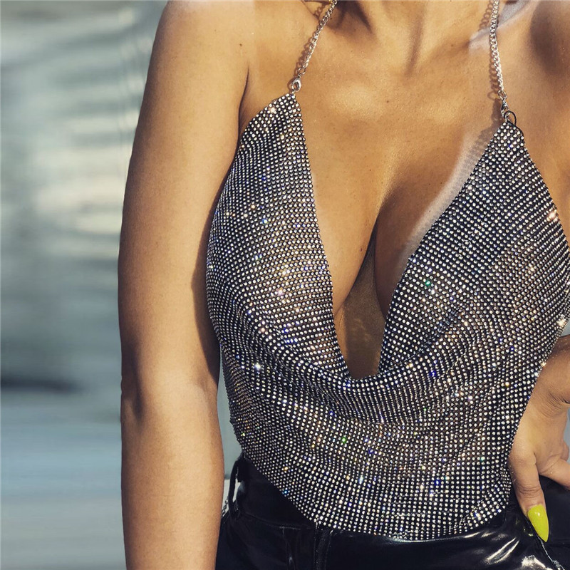AKYZO 2018 Sexy Halter Rhinestone   Tank     Tops   Women Fashion Backless Summer Festival Nightclub Wear Cropped   Top