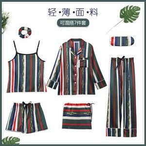 Image 5 - Womens 7 Pieces Pajama Set Emulation Silk Striped Pajamas Women Sleepwear Home Clothes Sexy Pijama Night Suit Spring Pyjamas