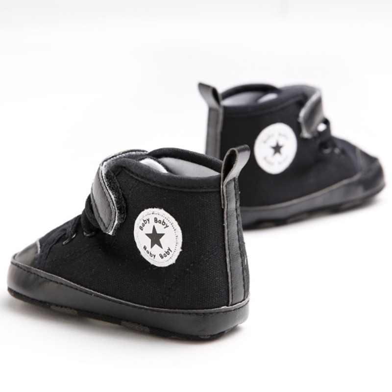 Cute Star Black Anti-slip Baby Shoes Newborn Boy Crib Shoes Toddler Loafer Prewalker Footwear Baby Boy Casual Shoes