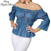 SAUCY ANGELIA Women Summer Crop Top Off Shoulder Tops T Shirt Sexy Strapless Denim Wrap Pleated Stretchy Tee Femme Camisetas XXL
