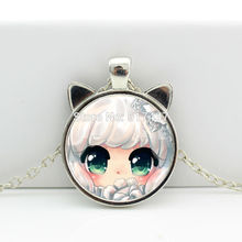 2017 New hot New Cute Girl Pendant Girl Necklace Anime Jewelry Glass Photo Cabochon Necklace N-00606