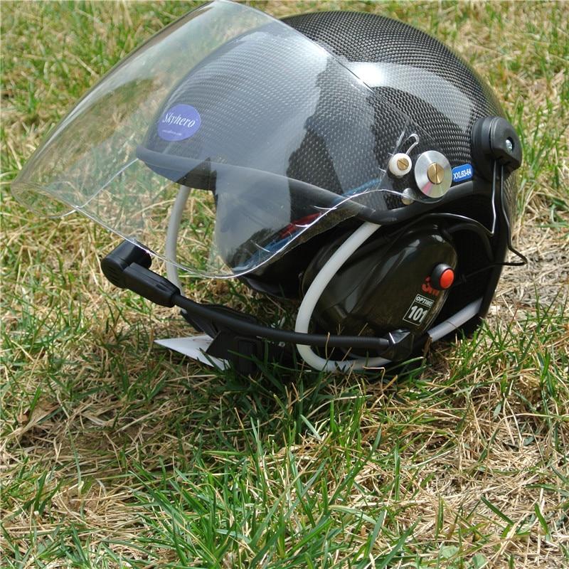 Material de carbono Real Paramotor capacete com cancelamento de ruído fone de ouvido de Fábrica venda diretamente frete grátis