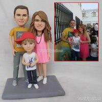 Ooak полимерной глины куклы детские воспоминания детства свадебный торт Топпер день рождения торт Топпер семья подарок настоящее годовщина