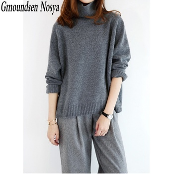 2019  New Fashion Cashmere sweater women turtleneck pullover Loose knitting Thicken winter tops for