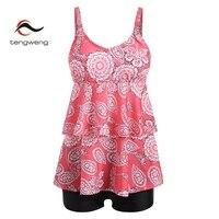 Tengweng 2018 New Pink Floral Ruffle XXL Women Tankini Swimwear Shorts Plus size Swimsuit Print Female Bathing suit 2 PCS Bikini