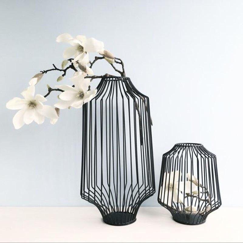 3 Pcs/Lot Vases de Table Europe métal noir fleur Vase forme géométrique fer Art bougeoir pour maison/mariage décoration cadeau G056-in Vases from Maison & Animalerie    2