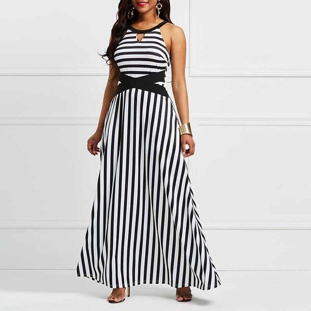 a3431cf258 2019 Fashion Vacation Sexy Beach Women Dress Autumn A-Line Stripe Color  Block Hollow Patchwork Girls Travel Female Maxi Dresses