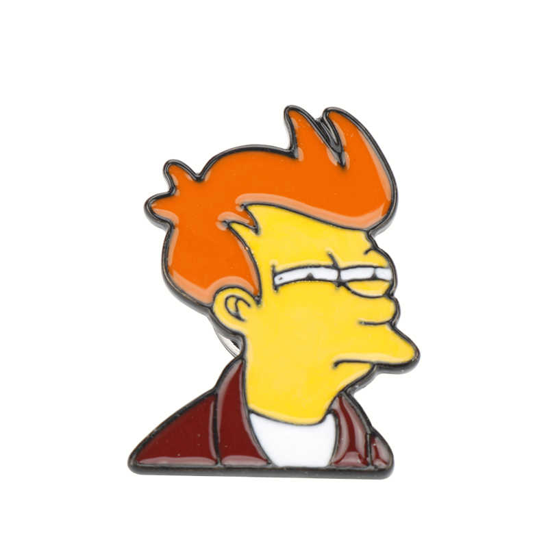 Anime Philip J. goreng Pin Acara TV Futurama Pin Bros Keras Enamel Pin Lencana Pinback Bros Kemeja Tas untuk Pria Wanita Hadiah