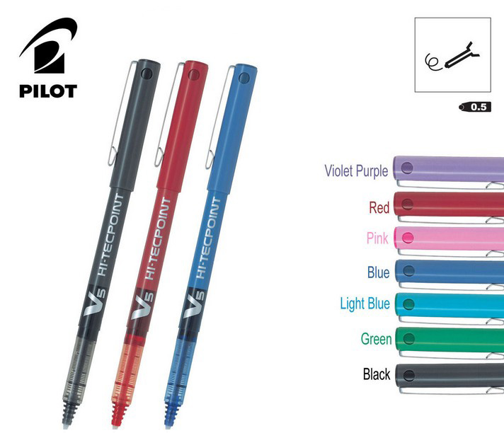 2 /6/12  Japan Pilot V5 Liquid Ink Pen 0.5mm 7 Colors to Choose BX-V5 standard pen office and school stationery  FREE SHIPPING pilot original japan coloring ink iroshizuku natural color bokusui ink 50 50ml 24 colors