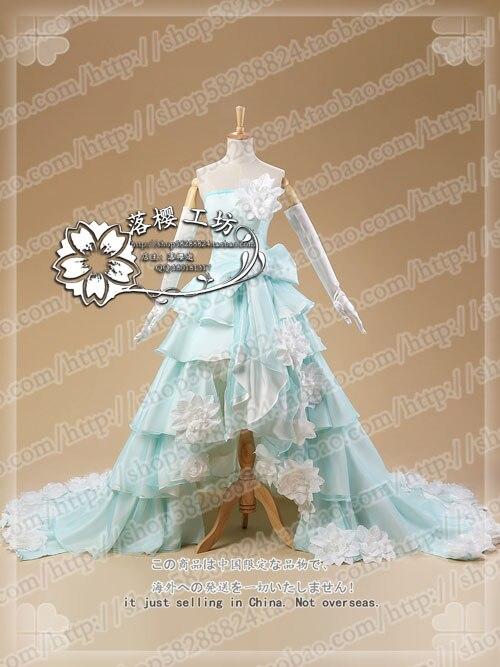 Vocaloid Мику роскошные свадебное платье Косплэй костюм Хэллоуин равномерное вечерние платье на заказ