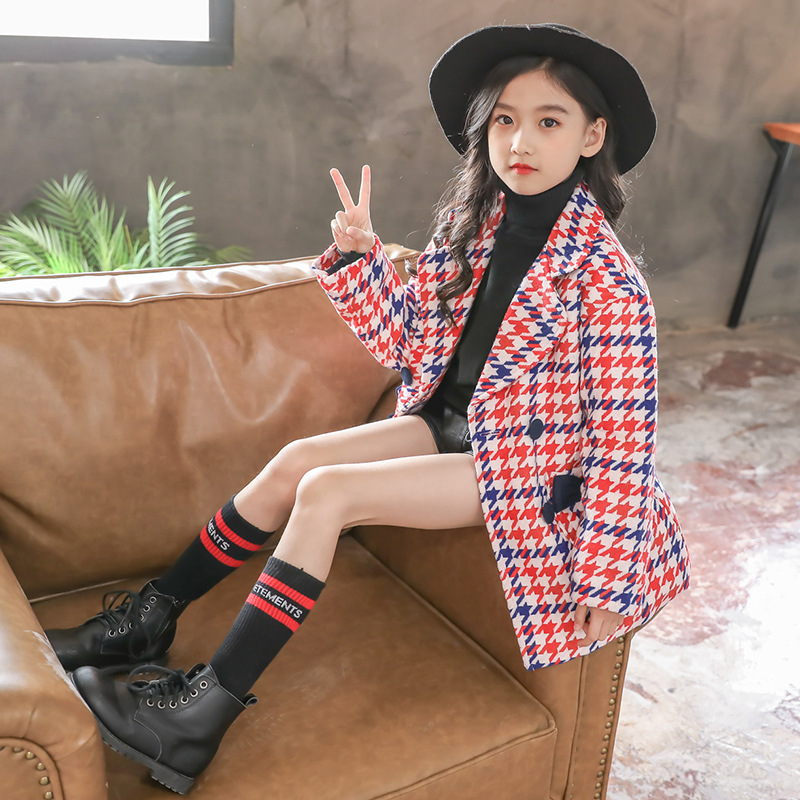 New autumn winter teenage girls outwear plaid woolen jacket coat for girl trench coat kids children outwear tops girls clothes помада make up factory make up factory ma120lwusv48