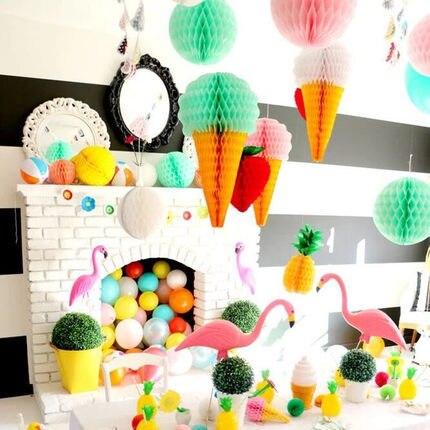 1 CÁI 6 cm của ice cream honeycomb paper lantern bóng cưới trang trí sinh nhật đảng ngoài trời trang trí siêu thị shoppin