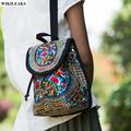 women ladies ethnic embroidered backpack flower drawstring canvas embroidery handmade bookbag shoulder schoolbags backpacks bags