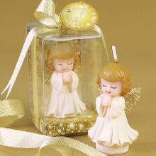 creative smokeless scented angel boy and girl with wings cake decorated candles for children kids birthday  wedding party gift