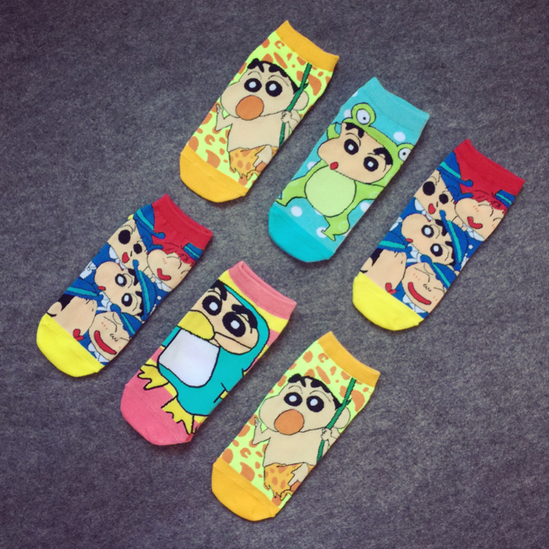 Anime cute crayon socks cartoon Casual fashion Comfortable mens Unisex sock Short tube shallow mouth happy funny boat socks new