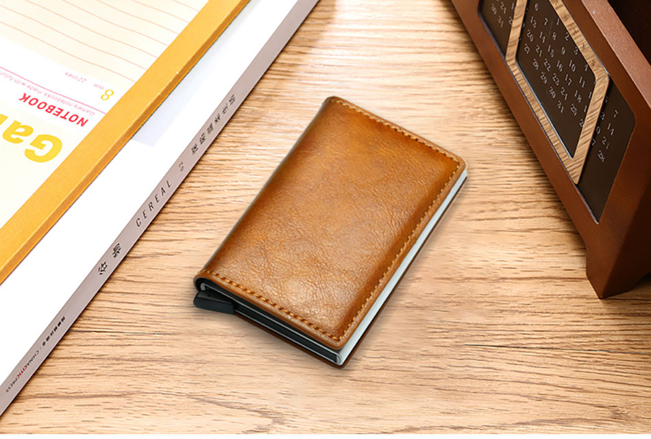 Mens Small Slim Leather Wallets Rfid Card Holder 62