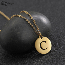 My Shape New Gold Hollow Letter C Round Pendant Stainless Steel Personalized Necklace Party