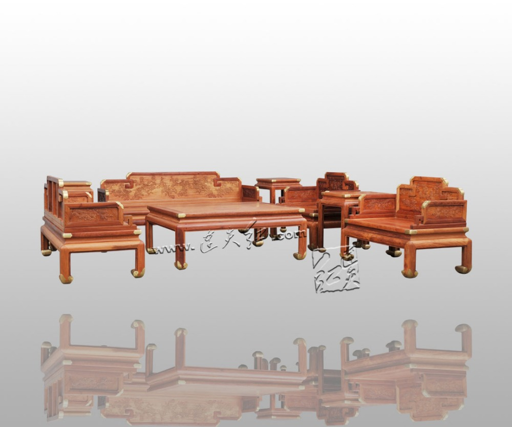 8-Pieces Sofa Set Burma Rosewood 1+2+3 Seaters Chair Home Living Room Furniture Solid Wood Tea Table Chinese Style New Classical classical rosewood armchair backed china retro antique chair with handrails solid wood living dining room furniture factory set