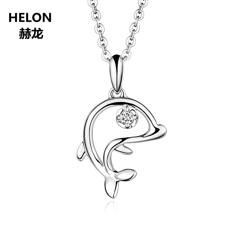 Solid 14k White Gold Natural Diamonds Women Pendant Romantic Dolphins Pendant Fine Jewelry Anniversary Engagement Wedding GiftSolid 14k White Gold Natural Diamonds Women Pendant Romantic Dolphins Pendant Fine Jewelry Anniversary Engagement Wedding Gift