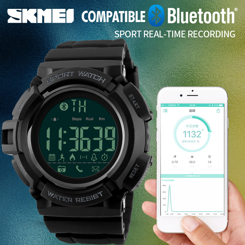ФОТО New SKMEI Bluetoot Remote Camera Smart Sport Watch Men Pedometer Call Message APP Reminder Smart Watches For IOS Android Iphone