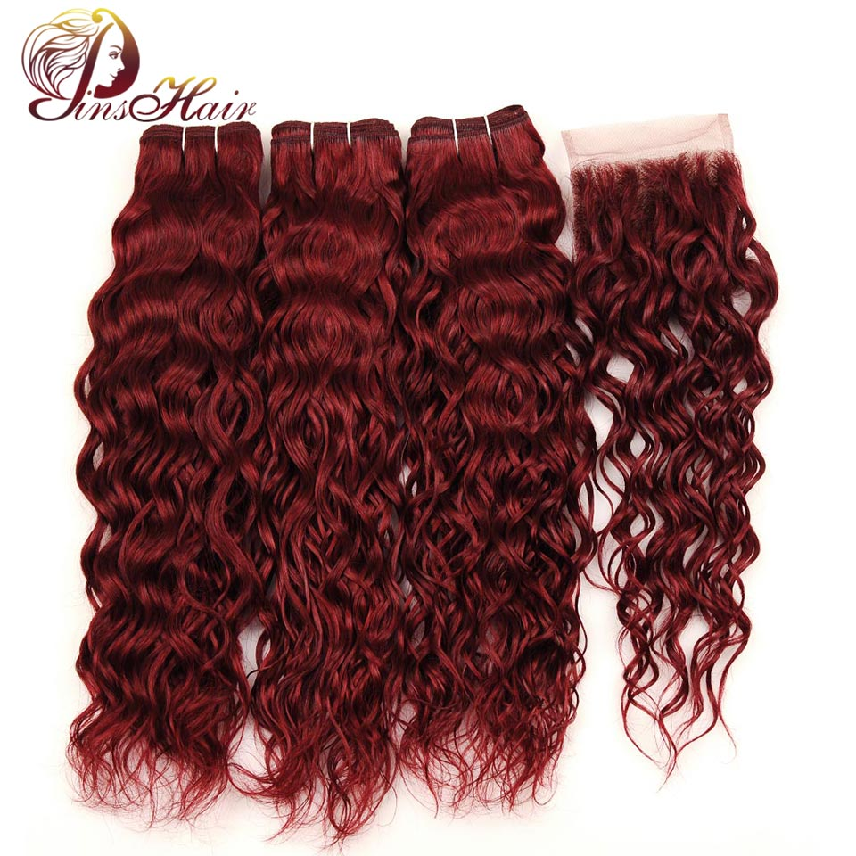 Pinshair 99J Burgundy Malaysian Hair Water Wave 3 Bundle With Closure Pre-Colored Wine Red Human Hair With Lace Closure Non Remy