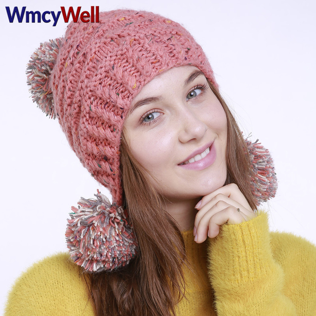 5f3e94de9 US $9.98 |WmcyWell Winter Fall Womens Beanie Hats Fashion Caps Keep Warm  Ski Hat Knitted Plus Mixed Colour Ear Bonnet Femme Pom Pom Hat-in Skullies  & ...